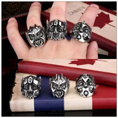 Punk Hero Robot Carman Rings Titanium Steel Antique Silver Plated 3D Biker Face Rings for Male