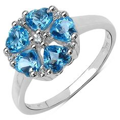 Olivia Leone Sterling Silver 1 4/5ct Swiss Topaz and White Topaz Ring