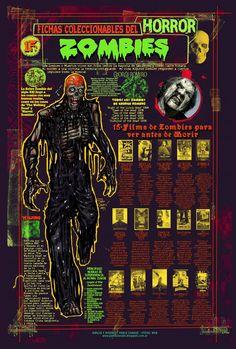 Ficha infográfica sobre Zombies en el cine. Dibujos y diseños míos.