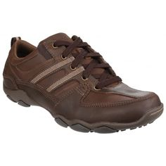Skechers Mens Diameter Selent Brown Casual Shoe Skechers Diameter - Selent is a men s comfortable lace up shoe ideal for everyday casual wear Brown Casual Shoes, Dark Brown Shoes, Mens Flip Flops, Mens Trainers, Lace Up Shoes, Skechers, Casual Wear, Hiking Boots, Footwear