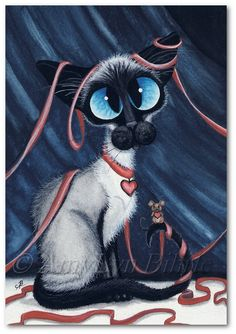 Siamese Cat Mouse Friend Art Prints ACEOs by by AmyLynBihrle, $8.99