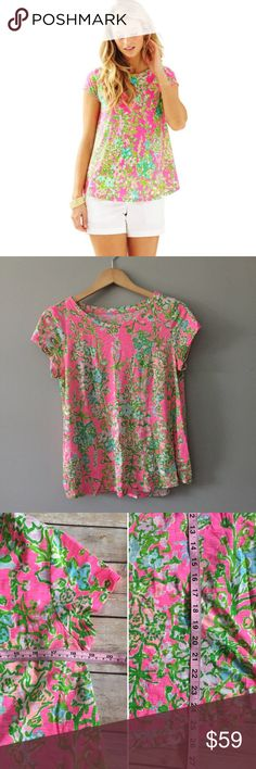 Medium Southern Charm Betsey Cap Sleeve Top Medium Southern Charm Print Betsey Cap Sleeve Top by Lilly Pulitzer. EUC. Exact measurements pictured. Super cute and preppy Chic at its finest! Lilly Pulitzer Tops Tees - Short Sleeve