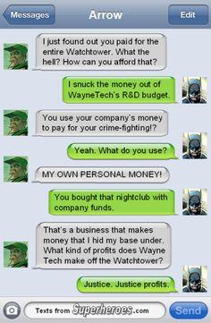 Batman and Arrow on superhero bases