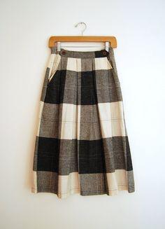 plaid wool vintage skirt.