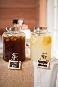 tea and lemonade jars for country wedding ideas
