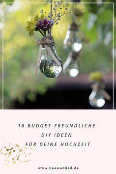 Hole dir 18 Ideen für deine DIY Hochzeit, die auch noch deinen Geldbeutel schonen.  #diyhochzeit #diydeko #diyideen #diybraut #hochzeitsideen Freundlich, Glass Vase, Decor, Diy Crafts, Simple, Decoration, Decorating, Dekorasyon, Dekoration
