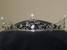 Highlight for Album: #42 - Sterling silver scrollwork coronet with numerous gems and cultured pearl.