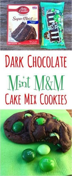 Easy Dark Chocolate Mint M&M Cake Mix Cookie Recipe! Just 4 ingredients and SO delicious!