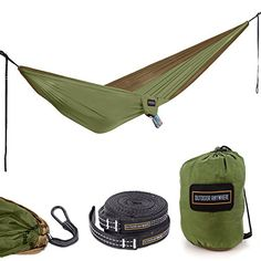 Favorite Camping Gear  | Double Hammock Camping Parachute Nylon  Large Two Person Portable Lightweight Travel Hammock Kit with Adjustable Tree Straps Heavy Duty Carabiner Clips and Carry Pouch for Backpacking or HikingDouble Hammock Camping Parachute Nylon  Large Two Person Portable Lightweight Travel Hammock Kit with Adjustable Tree Straps Heavy Duty Carabiner Clips and Carry Pouch for Backpacking or Hiking -- Read more reviews of the product by visiting the link on the image. Note:It is…