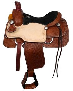 Double T Roper Style saddle with suede leather seat. Saddle is double rigged and features roughout leather jockies. Saddle features combination of waffle pattern and floral tooling on skirts, fenders,