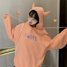 Cute Devil Hoodie ●Size:M Length chest L Length chest XL Length chest XXL Length chest ●Material:Cotton ●Color:Yellow,Orange,Green ●Process time: business days●Shipping time: business days to United States Kpop Outfits, Girl Outfits, Cute Outfits, Poses, Korean Girl Photo, Hoodies For Sale, Uzzlang Girl, Cute Korean, Korean Style