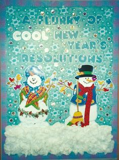 New Year's resolution board with a snowy chalk effect...