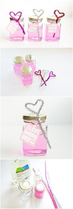 DIY Pink Bubbles and Heart Wand Blowers (with free printable tags). Cute DIY Valentine Favor for Kid!