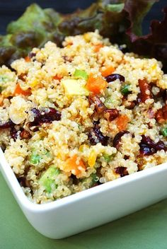 A colorful, vegetarian salad packed with flavor. Perfect for summer entertaining. Vegetarian Salad, Quinoa Salad, Dried Cranberries, Lunch Time, Bon Appetit, Dinner Ideas, Foodies, Nom Nom, Delish
