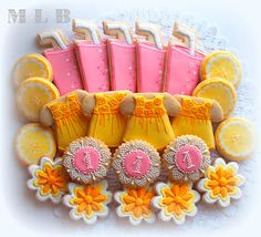 Summer Cookies~         By My Little Bakery, Yellow Sun dress, pink lemonade, lemons, number