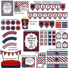 Navy Blue and Red Happy Birthday Banners, Birthday Decorations, Nautical Cupcake, Babyshower, Diy Straw, Cake Banner, Candy Wrappers, Tent Cards, Party Packs