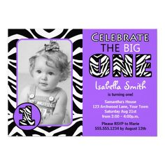 Zebra Print Purple Girls First Birthday Personalized Invitations