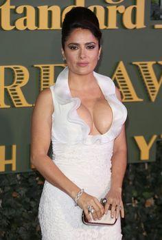 Salma Hayek busty in a low cut white dress