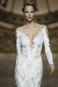 Nude #lace wedding dress from Pronovias | Confetti.co.uk