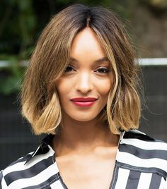 Jourdan Dunn's A-Line bob with golden highlights and cherry red lip