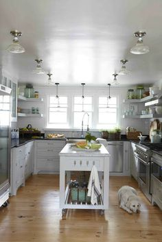 """Kitchen Layout: Move the fridge to the pantry wall and open up the North facing wall...keep the island, but make in longer and more narrow...get rid of the """"L"""" shaped counter and cupboards."""