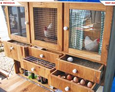 Pull out drawers for nesting boxes. I can't decide if this is wacky or brilliant.