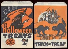 vintage Halloween treat bags- from when i was a kid Vintage Halloween Images, Retro Halloween, Halloween Items, Vintage Holiday, Halloween Candy, Holidays Halloween, Happy Halloween, Halloween Decorations, Halloween Pictures