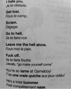"""urbran: """" the only french i will ever need to know """" French Swear Words, French Words Quotes, Basic French Words, How To Speak French, Learn French, Learn English, French Language Lessons, French Language Learning, French Lessons"""