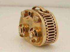 Vintage 3D 9ct Gold Tape Recorder Charm.Movable