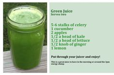 My everyday juice: i also add spinach and substitute carrot for the apple.