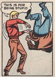"""THIS is for being STUPID!"", whack! Vintage Comic Book Art."