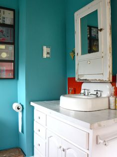 Aqua & Red: A Perfect Combination for Many Spaces - Love bathroom pic at the top of the page.
