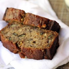 The Best Banana Nut Bread Recipe Breads with bananas, sugar, brown sugar, eggs, honey, vanilla extract, butter, salt, cinnamon, nutmeg, clove, ground ginger, flour, baking soda, chopped walnuts