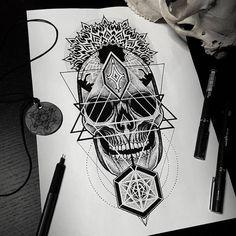 dessin de tatouage tête de mort dot work