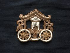 Royal Carriage Indian Zari Applique, Handmade Embroidery Golden Zardozi Beaded Cutwork Applique, Dress Patch Designer Carriage Patch by IndianCraftSafari on Etsy