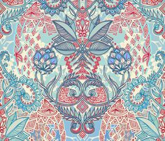 blue, red, turquoise & cream geo botanical doodle by micklyn