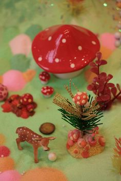 Mushrooms and Deer miniatures in a pastoral setting. Its like my brain in picture form.