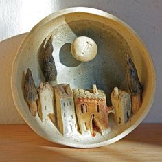 by Bottega delle stelle « La bottega delle stele ceramic Clay Houses, Ceramic Houses, Ceramic Clay, Ceramic Pottery, Clay Projects, Clay Crafts, Keramik Design, Pottery Houses, Pottery Sculpture