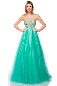 A Line/Princess Strapless Sweetheart Floor Length Ball Gown With Ruffle Beading