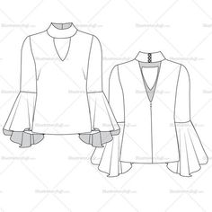 Women's flared sleeve Blouse Fashion Flat Vector Templates front and back detail sketch. It also includes decorative invisible zipper pull. Its easy to modify and use.