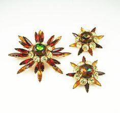 Vintage Brooch Earrings Judy Lee Rhinestone Navette Jewelry Set