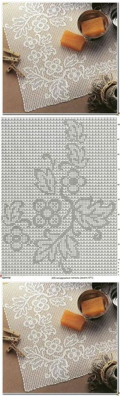 World crochet: Tablecloth 66 Filet Crochet Charts, Crochet Cross, Crochet Diagram, Crochet Motif, Crochet Doilies, Crochet Lace, Crochet Stitches, Tunisian Crochet, Crochet Curtains