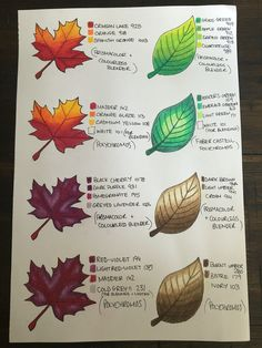 Leaf Coloring chart for colored pencils Coloring Book Art, Coloring Tips, Leaf Coloring, Adult Coloring, Colored Pencil Tutorial, Colored Pencil Techniques, Diy Y Manualidades, Coloring Tutorial, Colouring Techniques