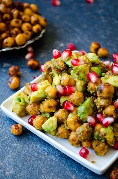 Avocado Chickpea Salad with pomegranate seeds is packed with flavors. Spicy tangy and super addictive! This is a scrumptious gluten free and vegan side dish you can eat even as a snack.