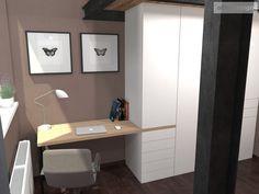Ložnice s pracovnou a se zvýšeným spaním. Olomouc   očkodesign Corner Desk, Projects, Furniture, Home Decor, Corner Table, Log Projects, Blue Prints, Decoration Home, Room Decor