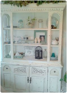 The Thrifty Side: My China Hutch Makeover China Hutch Makeover, China Hutch Decor, Repurposed Furniture, Cool Furniture, Painted Furniture, Painted Hutch, Furniture Ideas, Kitchen Dinning, Kitchen Redo