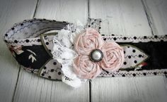 Gray Floral Fabric Headband Floral by CollectiveCreationsC