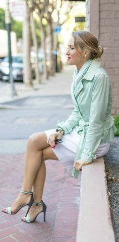 pastel mint green jacket and scarf, ankle strap sandals, white pencil skirt, and fuchsia / red lip