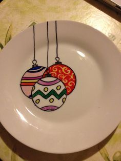 Christmas plate with the aid of some sharpies (bake at 150 C for 30mins) - definitely making some more of these !