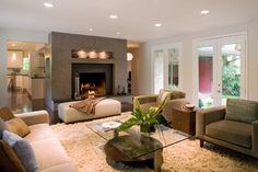 custom color plaster around fireplace  Family Room - contemporary - living room - dallas - Laurie S Woods ASID